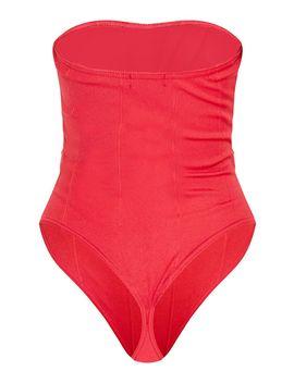 Scarlet Rib Hook And Eye Chiffon Bust Bodysuit by Prettylittlething