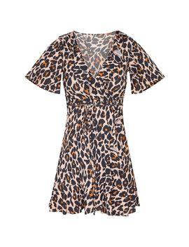 Brown Leopard Wrap Frill Detail Tea Dress by Prettylittlething