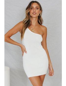 Summer Voyage One Shoulder Knit Mini Dress // White by Vergegirl
