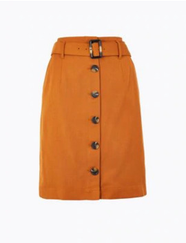 Button Through A Line Mini Skirt by Marks & Spencer