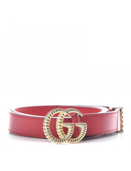Gucci Calfskin Torchon Double G Belt 80 32 Hibiscus Red by Gucci