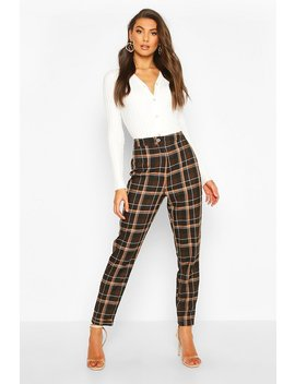 Tall Check Woven Trousers by Boohoo
