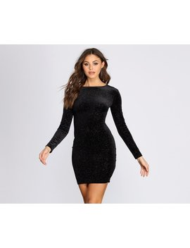 Long Sleeve Glitter Mini Dress by Windsor