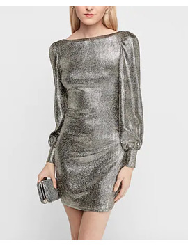 Open Back Puff Sleeve Metallic Sheath Dress by Express