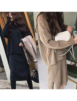 Lomond   Set: Plain V Neck Sweater + Turtleneck Sleeveless Midi Knit Dress by Lomond