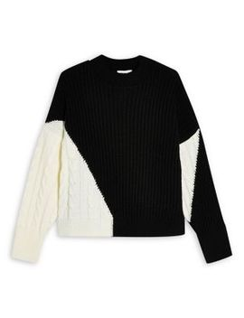 Cable Knit Colourblock Sweater by Topshop