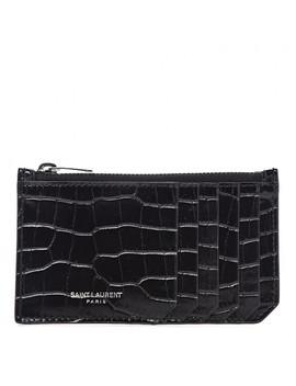 Saint Laurent Crocodile Embossed Calfskin 5 Fragments Zip Pouch Card Holder Black by Yves Saint Laurent