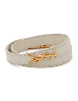 White Leather Wrap Bracelet by Saint Laurent