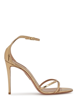 Purist 105 Gold Leather Sandals by Aquazzura