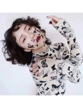 Exclusive Harajuku Autumn Winter Turtleneck Long Sleeve Mesh Tops Butterfly Print T Shirt Women Camiseta Transparente Mujer by Ali Express.Com