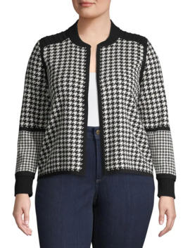 Plus Open Houndstooth Cotton Jacket by Vince Camuto