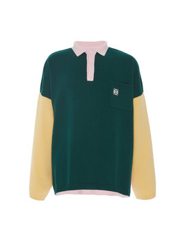 Colorblock Wool Polo Shirt by Loewe