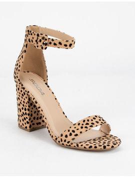 Soda Cheetah Ankle Strap Womens Block Heels by Soda