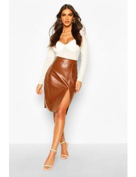 Pu Midi Skirt by Boohoo