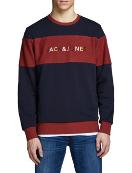 Colourblock Logo Cotton Crew Sweatshirt by Jack & Jones