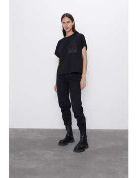 T Shirt With Satin Effect Pocket by Zara