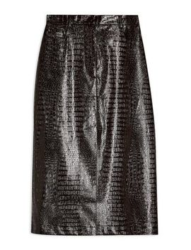 Burgundy Vinyl Crocodile Print Midi Skirt by Topshop