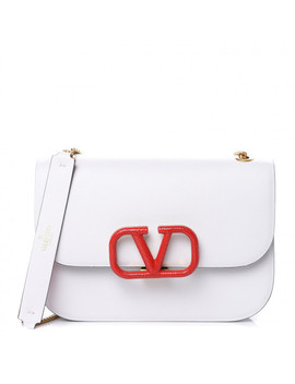 Valentino Smooth Calfskin Small V Lock Shoulder Bag Bianco Ottico Rouge Pur by Valentino