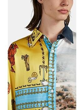 Oversized Mixed Print Silk Shirt by Lost Daze