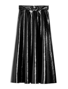 Black Full Circle Vinyl Midi Skirt by Topshop