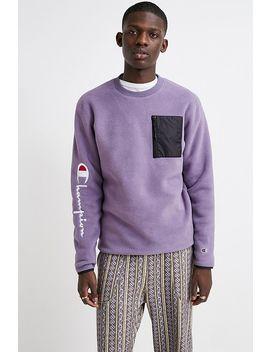 Champion Script Purple Fleece Crew Neck Sweatshirt by Champion