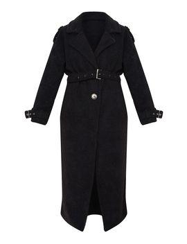 Black Borg Oversized Belted Coat by Prettylittlething