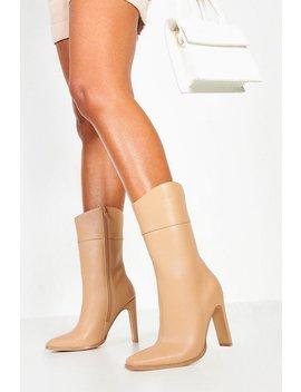 Calf High Flat Heel Boots by Boohoo