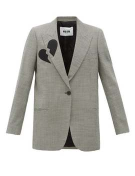 Single Breasted Broken Heart Wool Blend Blazer by Msgm