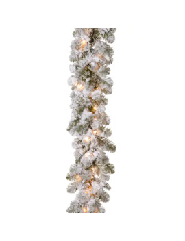 National Tree Company 9 Ft. Snowy Camden Artificial Spruce Pre Lit Indoor / Outdoor Garland by National Tree Company