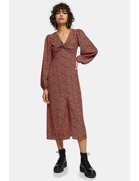 Red Rose Print Godet Twist Front Midi Dress by Topshop