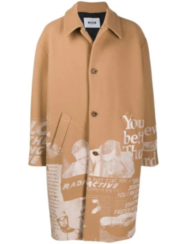 Graphic Print Coat by Msgm