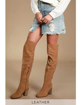 Loganos Chestnut Suede Leather Over The Knee Boots by Kelsi Dagger