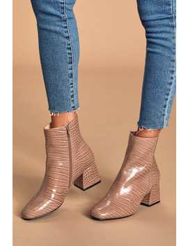 Davist Tan Crocodile Embossed Square Toe Ankle Booties by Steve Madden