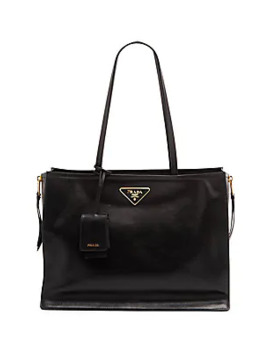 Large Glace Side Zip Leather Shopper by Prada
