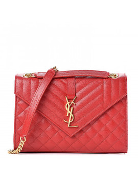 Saint Laurent Grain De Poudre Textured Mixed Matelasse Triquilt Medium Monogram Satchel New Red by Yves Saint Laurent