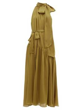 Super Eight Pussy Bow Silk Charmeuse Maxi Dress by Zimmermann