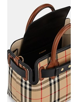 Belted Leather Trimmed Cotton Canvas Mini Bag by Burberry