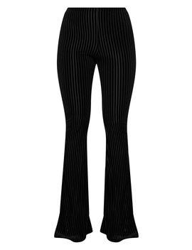Black Ribbed Velvet Flared Trouser by Prettylittlething