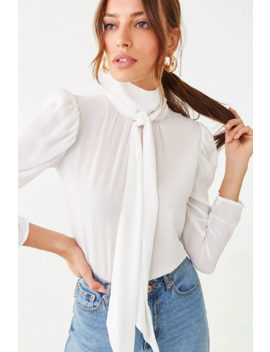 Semi Sheer Tie Neck Top by Forever 21