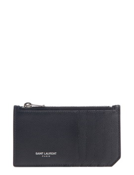 Pebble Grain Leather Zip Wallet by Saint Laurent