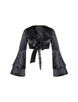 Black Satin Flared Sleeve Tie Up Cropped Blouse  by Prettylittlething