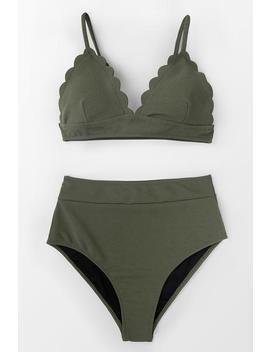 Solid High Waist Bikini by Cupshe