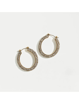 Rounded Pavé Hoop Earrings by J.Crew