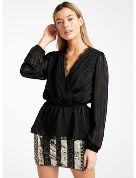 Jacquard Stripe Crossover Blouse by Icône