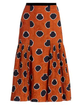 Dot Plissé Floral Jacquard Midi A Line Skirt by Johanna Ortiz
