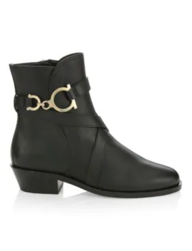 Shadi Leather Ankle Boots by Salvatore Ferragamo