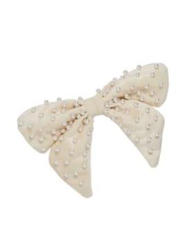 Faux Pearl Velvet Bow Barrette by Lele Sadoughi