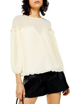 Cream Pleated Top by Topshop