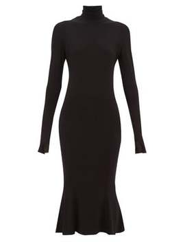 Roll Neck Stretch Jersey Midi Dress by Norma Kamali