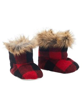Indigo Baby Baby Booties Buffalo Plaid Black And Red 0 To 12 Months by Indigo Baby